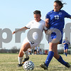 Kyle Bursaw – kbursaw@shawmedia.com<br /> <br /> Sycamore's Michelle Doran (10) and Burlington Central's Alison Colby (13) chase down the ball during the first half of their match at Sycamore High School on Tuesday, March 20, 2012.