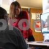 Kyle Bursaw – kbursaw@shawmedia.com<br /> <br /> Northern Illinois freshman Jesse Guice (left) and LGBT Resource Center Director Molly Holmes watch and discuss a clip from the documentary 'Bully' in the Resource Center on Friday, April 6, 2012.