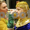 "Rob Winner – rwinner@shawmedia.com<br /> <br /> Danielle Pagoria (left) applies makeup to Chris Welch before rehearsal of ""Joseph and the Amazing Technicolor Dreamcoat ,"" at Northern Illinois University's O'Connell Theatre, Stevens Building on the DeKalb campus on Tuesday night."