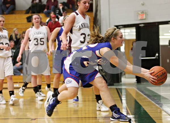 Rob Winner – rwinner@shawmedia.com<br /> <br /> Hinckley-Big Rock's Lauren Paver steps out of bounds while trying to control a ball in the second quarter during the Class 1A Varna Sectional semifinal on Tuesday night.