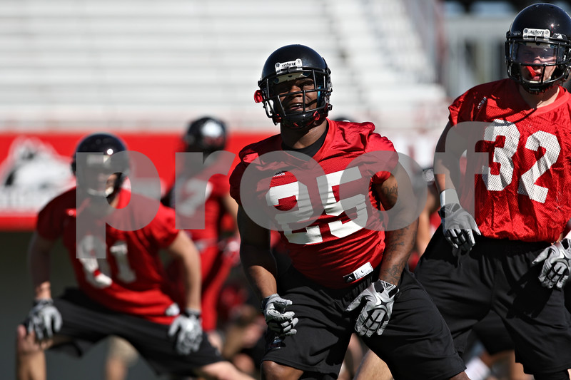 Rob Winner – rwinner@shawmedia.com<br /> <br /> Giorgio Bowers during the Northern Illinois football team's first practice of the spring Wednesday, March 28, in DeKalb, Ill.