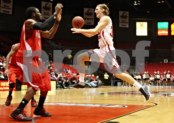 Rob Winner – rwinner@shawmedia.com<br /> <br /> Northern Illinois' Aksel Bolin goes to the basket for two during the first half in DeKalb on Wednesday, Feb. 8, 2012.