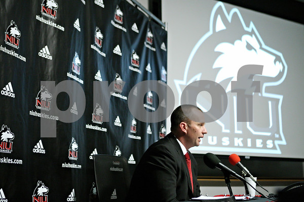 Rob Winner – rwinner@shawmedia.com<br /> <br /> Northern Illinois University head football coach Dave Doeren talks to the media during a signing day press conference at the Yordon Center in DeKalb on Wednesday, Feb. 1, 2012.