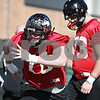 Rob Winner – rwinner@shawmedia.com<br /> <br /> Ryan Brown during the Northern Illinois football team's first practice of the spring Wednesday, March 28, in DeKalb, Ill.