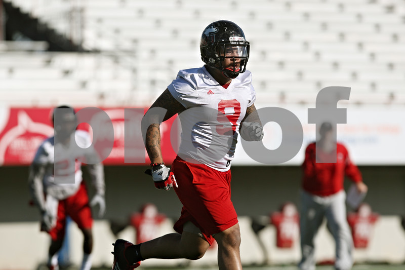 Rob Winner – rwinner@shawmedia.com<br /> <br /> Devon Butler during the Northern Illinois football team's first practice of the spring Wednesday, March 28, in DeKalb, Ill.