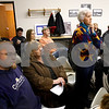 Kyle Bursaw – kbursaw@shawmedia.com<br /> <br /> Phyllis Craig listens as the Hinckley village board answers her question about the hire of Police Chief Ed Arroyo (sitting back row left) on Monday, March 5, 2012. About 25 people attended the board meeting.