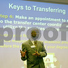 Keith Barnes, coordinator of Diverse Student Services and Transfer Center at Kishwaukee College, answers questions Monday during his Transfer 101 session – one of several sessions offered during the college's open house.<br /> <br /> By Nicole Weskerna - nweskerna@shawmedia.com