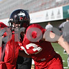 Rob Winner – rwinner@shawmedia.com<br /> <br /> Northern Illinois tight end Luke Eakes works on a drill during practice at Huskie Stadium in DeKalb Friday, April 6, 2012.