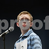 "Rob Winner – rwinner@shawmedia.com<br /> <br /> Addison Schaefges, 11 of St. Mary's School, looks toward pronouncer Gil Morrison (not pictured) after attempting to spell the word ""stoic"" during the first round of the DeKalb County Spelling Bee at Kishwaukee College on Saturday, Feb. 25, 2012."