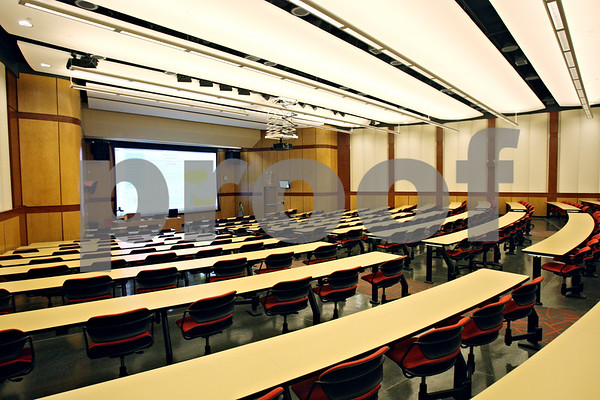 Rob Winner – rwinner@shawmedia.com<br /> <br /> The Jameson Auditorium seats as many as 351 students, its articulated chairs pivot 360 degrees, providing students with the opportunity to collaborate in small, more personal groups as seen on Friday evening.