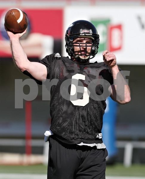 Rob Winner – rwinner@shawmedia.com<br /> <br /> Northern Illinois quarterback Jordan Lynch during practice at Huskie Stadium in DeKalb Friday, April 6, 2012.