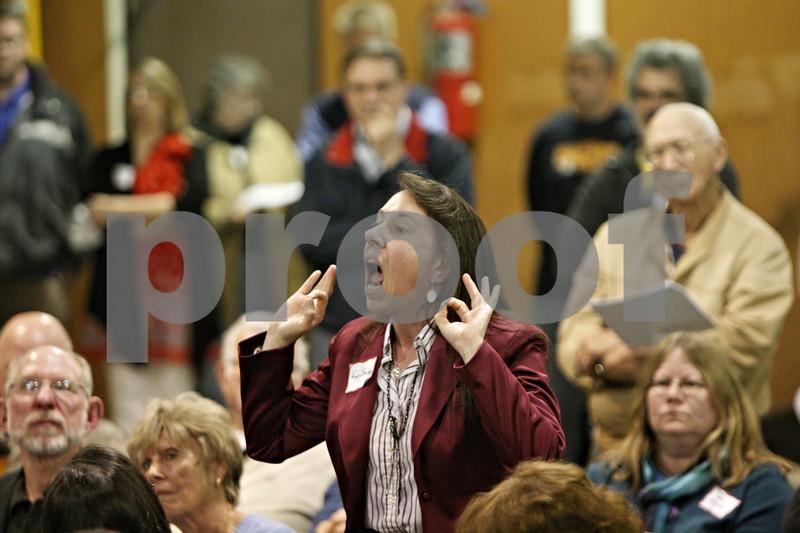 Rob Winner – rwinner@shawmedia.com<br /> <br /> Kay Shelton speaks during the annual DeKalb Township meeting Tuesday as DeKalb home rule is discussed.