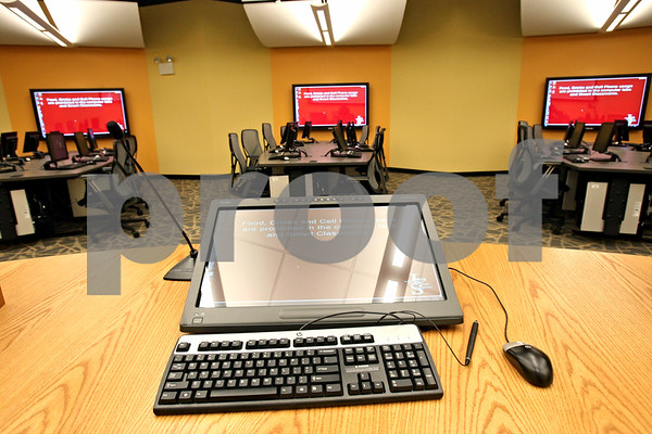 Rob Winner – rwinner@shawmedia.com<br /> <br /> The Cole Hall Collaboratory Classroom has six separate learning pods, each seating eight students as seen on Friday.