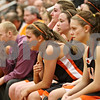Rob Winner – rwinner@shawmedia.com<br /> <br /> DeKalb seniors including Alli Smith (left) watch the final moments of their Class 4A Elgin Super-Sectional game against Bartlett on Monday, February 27, 2012.