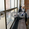 Rob Winner – rwinner@shawmedia.com<br /> <br /> Northern Illinois junior Klaudia Lehotaiova sits on a bench with her tablet within Cole Hall between classes on Thursday afternoon.<br /> <br /> DeKalb, Ill.<br /> Thursday, Feb. 9, 2012