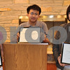Barry Schrader photo<br /> <br /> Each year middle school students in DeKalb County are to write an essay on a theme selected by Oak Crest – DeKalb Area Retirement Center. The winners of this year's contest are, from left, first place winner Anna McComb, second place winner Nicolas Inocencio and third place winner Rachel Frances.