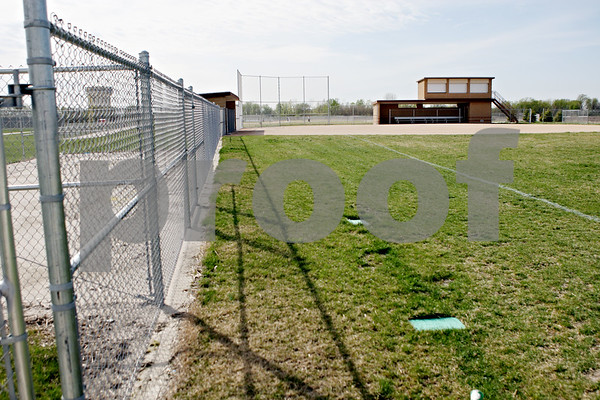 Rob Winner – rwinner@shawmedia.com<br /> <br /> A view from right field looking toward home plate at the new DeKalb softball field as seen on Thursday, March 29. Since the beginning of the season the Barbs have had to play their games at Huntley Middle School.<br /> <br /> ***Feel free to throw text over the photo***