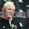 Kyle Bursaw – kbursaw@shawmedia.com<br /> <br /> Northern Illinois University offensive coordinator Mike Dunbar fields a question from the media during a press conference at the Yordon Center in DeKalb, Ill. on Monday, March 26, 2012.