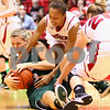 Kyle Bursaw – kbursaw@shawmedia.com<br /> <br /> Northern Illinois 14 tries to grab a ball away from an Ohio player<br /> in the second half of the game at the Convocation Center on Saturday, Feb. 4, 2012.