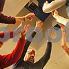 Rob Winner – rwinner@shawmedia.com<br /> <br /> A group of five raise their arms while stepping on a platform during a weekly exercise program at Westminster Presbyterian Church of Dekalb on Tuesday evening.<br /> <br /> ***I wasn't sure if I should include the names of the people but they are Marjorie Rey (in red on the left), John Rey, and Jitka Hurych (right)***