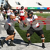 Rob Winner – rwinner@shawmedia.com<br /> <br /> Alan Baxter (left) and Joe Windsor during the Northern Illinois football team's first practice of the spring Wednesday, March 28, in DeKalb, Ill.