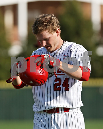Rob Winner – rwinner@shawmedia.com<br /> <br /> Northern Illinois batter Jordan Rishavy reacts after grounding out to end the fifth inning in DeKalb on Tuesday afternoon.