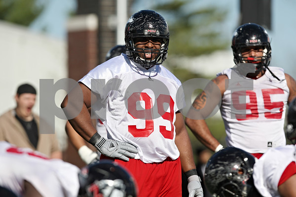 Rob Winner – rwinner@shawmedia.com<br /> <br /> Nabal Jefferson during the Northern Illinois football team's first practice of the spring Wednesday, March 28, in DeKalb, Ill.
