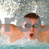 Kyle Bursaw – kbursaw@shawmedia.com<br /> <br /> Freshman Dylan Powers comes up for a breath while swimming the butterfly stroke during DeKalb-Sycamore co-op swim practice at Huntley Middle School on Tuesday, Jan. 10, 2012.