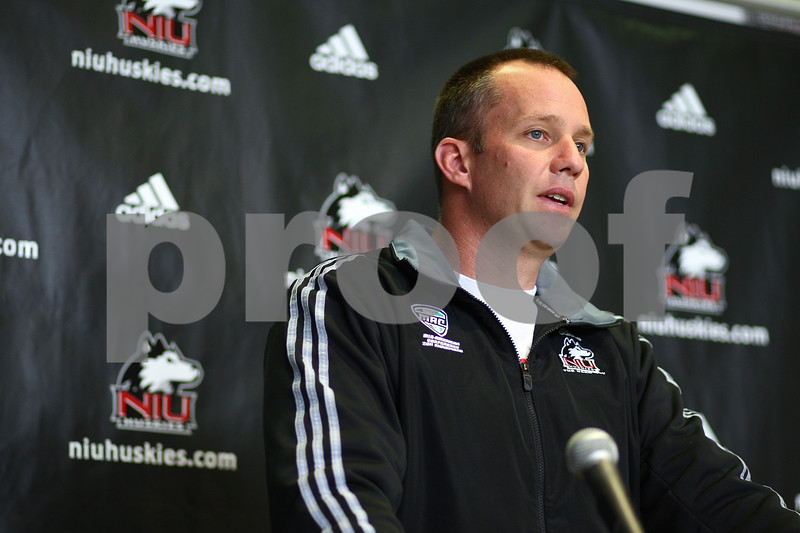 Kyle Bursaw – kbursaw@shawmedia.com<br /> <br /> Northern Illinois University head coach Dave Doeren addresses a question from the media during a press conference at the Yordon Center in DeKalb, Ill. on Monday, March 26, 2012.