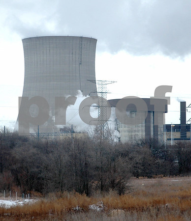 Chris Johnson – cjohnson@shawmedia.com<br /> <br /> A loss of offsite power led to the shutdown of unit 2 at Byron's Exelon Generating Station Monday morning.  Here steam from a relief valve can be seen escaping the auxiliary building.