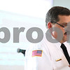 Kyle Bursaw – kbursaw@shawmedia.com<br /> <br /> DeKalb Fire Chief Bruce Harrison talks about cooking fires at the Convocation Center on Friday.<br /> <br /> Jan. 20, 2012.