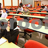 Kyle Bursaw – kbursaw@shawmedia.com<br /> <br /> Northern Illinois students including Farah Hussaini (front left) file in to the Jameson Auditorium and wait for their 9:30 Anthropology 101 lecture to begin in the newly renovated Cole Hall on Tuesday, Jan. 17, 2012.