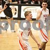 Rob Winner – rwinner@shawmedia.com<br /> <br /> DeKalb's James Robinson reacts after making a field goal before the end of the first half in DeKalb on Friday, Feb. 10, 2012. Kaneland defeated DeKalb, 65-55.