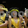 Rob Winner – rwinner@shawmedia.com<br /> <br /> Sycamore fans Kyle Millburg (from left to right), Josh Winters and Michelle Doran react to a play during the first quarter of the DeKalb Sycamore girls game at the Convocation Center in DeKalb on Friday night.