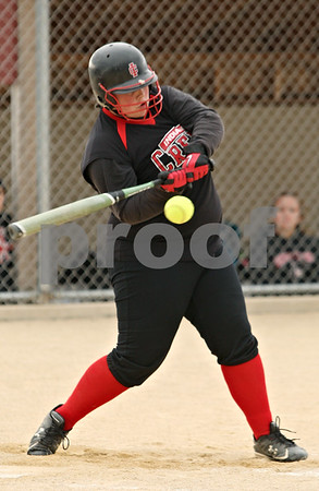 Rob Winner – rwinner@shawmedia.com<br /> <br /> Indian Creek batter Samantha Bergstrand connects for a double during the bottom of the first inning Friday in Shabbona. Indian Creek defeated LaMoille, 21-7, in five innings.