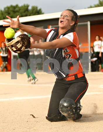 Rob Winner – rwinner@shawmedia.com<br /> <br /> DeKalb catcher Alysha Guy catches a foul ball to end the top of the fourth inning Tuesday in DeKalb. LaSalle-Peru defeated DeKalb, 8-1.