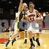 Rob Winner – rwinner@shawmedia.com<br /> <br /> Kent State guard Tamzin Barroilhet (left) pressures Northern Illinois forward Kim Davis during the first half in DeKalb on Saturday.