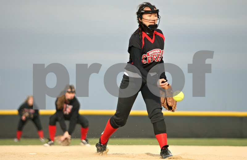Rob Winner – rwinner@shawmedia.com<br /> <br /> Indian Creek pitcher Khloe Gordon delivers a pitch during the top of the third inning Friday in Shabbona. Indian Creek defeated LaMoille, 21-7, in five innings.
