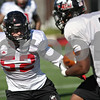 Rob Winner – rwinner@shawmedia.com<br /> <br /> Northern Illinois linebacker Michael Santacaterina during practice at Huskie Stadium in DeKalb Friday, April 6, 2012.