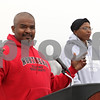 Rob Winner – rwinner@shawmedia.com<br /> <br /> Pastor Jerry Wright of The Rock Christian Church speaks during a rally to show support for Trayvon Martin at the Martin Luther King Commons at Northern Illinois University in DeKalb Friday. After the rally participants walked to DeKalb High School.