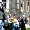 Kyle Bursaw – kbursaw@shawmedia.com<br /> <br /> Following the not guilty verdict in trial of Jack McCullough for the alleged 1962 rape of his half-sister Jeanne Tessier, DeKalb County States Attorney Clay Campbell addresses the media, with members of the Tessier family behind him outside the DeKalb County Courthouse in Sycamore on Thursday, April 12, 2012.