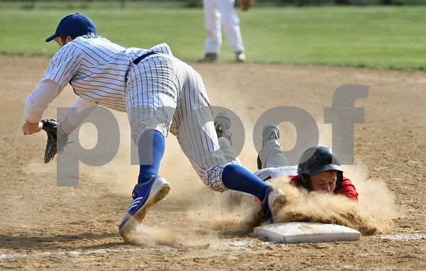 Rob Winner – rwinner@shawmedia.com<br /> <br /> Hinckley-Big Rock first baseman Colin Goodson (left) reaches for a pick-off throw as Indian Creek baserunner Bret Ostrom dives back in safely during the top of the first inning Tuesday in Big Rock.