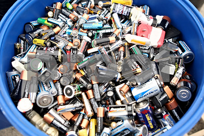 Rob Winner – rwinner@shawmedia.com  A blue barrel is used to collect used batteries during an electronics recycling collection at the DeKalb County Health Department's parking lot Saturday morning. The event was sponsored by the DeKalb County Solid Waste Management Program and the DeKalb County Farm Bureau.