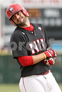 Rob Winner – rwinner@shawmedia.com  Northern Illinois batter Brett Frantini reacts after grounding out to the shortstop to end the second inning Tuesday in DeKalb. Milwaukee defeated NIU, 13-2.