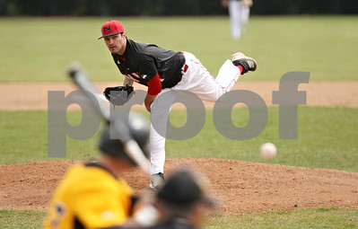 Rob Winner – rwinner@shawmedia.com  Northern Illinois pitcher Tom Barry delivers a pitch to Milwaukee's Drew Pearson (left) during the top of the second inning in DeKalb. Milwaukee defeated NIU, 13-2. Barry lasted four innings and allowed two earned runs.