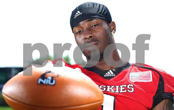 Kyle Bursaw – kbursaw@shawmedia.com<br /> <br /> Northern Illinois wide receiver Martel Moore (1) at media day on Tuesday, Aug. 7, 2012.