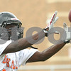 Kyle Bursaw – kbursaw@shawmedia.com<br /> <br /> DeKalb wide receiver Justin Bell hauls in a pass at practice on Wednesday, Aug. 8, 2012.