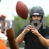 Kyle Bursaw – kbursaw@shawmedia.com<br /> <br /> DeKalb quarterback Jack Sauter takes a snap at practice on Wednesday, Aug. 8, 2012.
