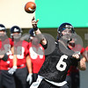 Kyle Bursaw – kbursaw@shawmedia.com<br /> <br /> Northern Illinois quarterback Jordan Lynch (6) throws during practice at Huskie Stadium on Monday, Aug. 6, 2012.