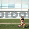 Kyle Bursaw – kbursaw@shawmedia.com<br /> <br /> DeKalb cross country runners Danielle Dlabal (front) and Kelsey Schrader run by NIU's Engineering Building during practice on Tuesday, Aug. 14, 2012.